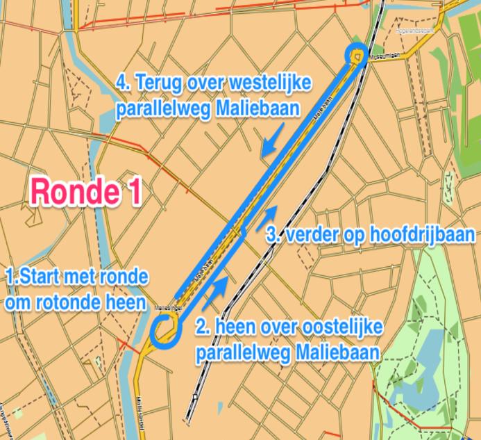 Route Ronde 1: 6 en 10 KM Maliebaanloop parcours prestatieloop en teamloop