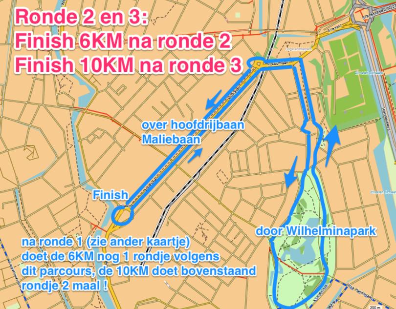 Route Ronde 2 en 3: 6 en 10 KM Maliebaanloop parcours prestatieloop en teamloop